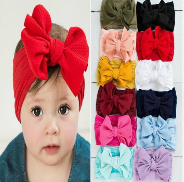best selling Girl Headbands Newborn Hairband Baby Big Bow Knot Headband Turban Hair Accessories Hair Band Wrap Kids Headwear KKA6846