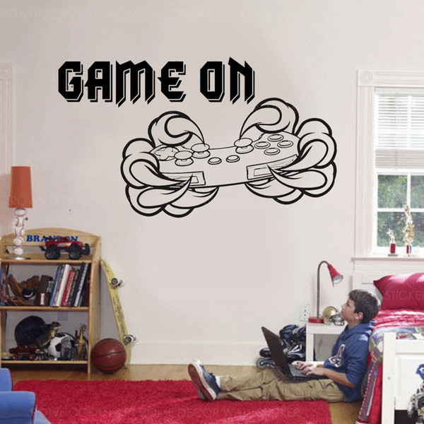 Game On Quotes Controller Wall Sticker Vinyl Home Decor For Kids Room Teens  Bedroom Gaming Room Decals Interior Mural Kids Room Wall Stickers Kids ...