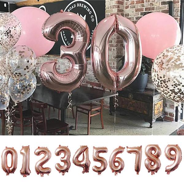 40 pulgadas de oro / plata / oro rosa Globo de papel de aluminio digital 0-9 Número Globos de helio Inflables Mié Fiesta de cumpleaños Decoración de suministros
