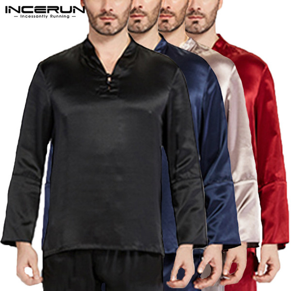 Fashion Mens Tee Long Sleeve Pullovers Satin Silk Man Tops Pajama Sleepwear Homewear Pyajama Loose Soft Plus Size 5XL Hombre