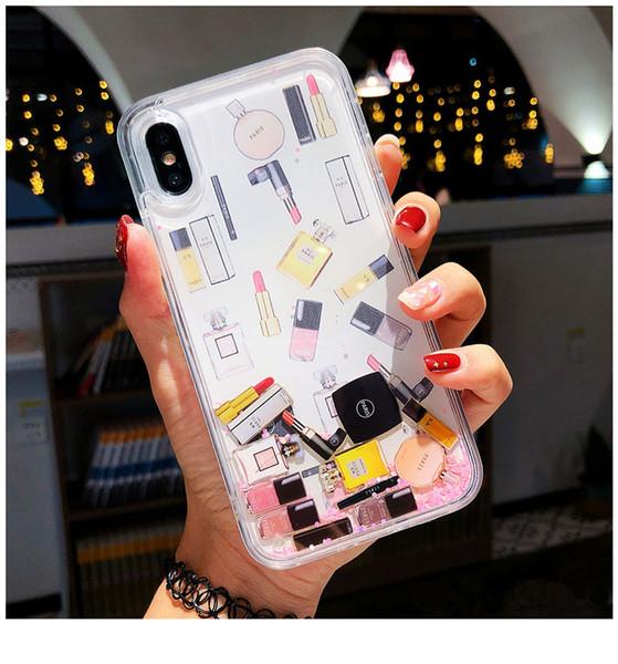 YunRT Cosmetic Quicksand Couverture Cas Pour iPhone 6S 7 8 Plus XS Max XR Dur Rouge À Lèvres Bouteille De Parfum liquide dynamique Capa Téléphone cas