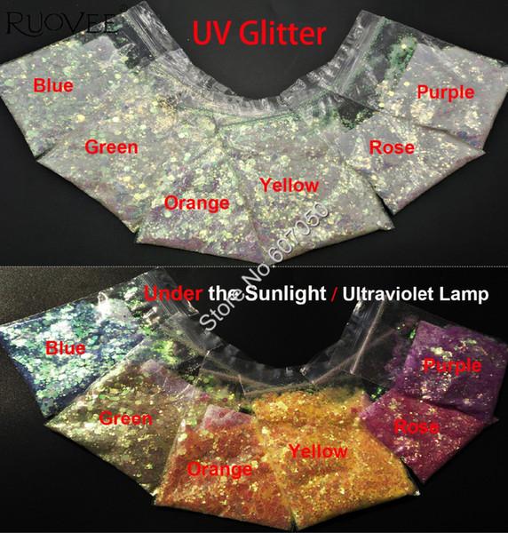 6COLORS UV Glitter Mixed Hexagon Shape Ultraviolet Light Nail Art for Craft Decorations Gel Makeup Facepainting DIY Accessories