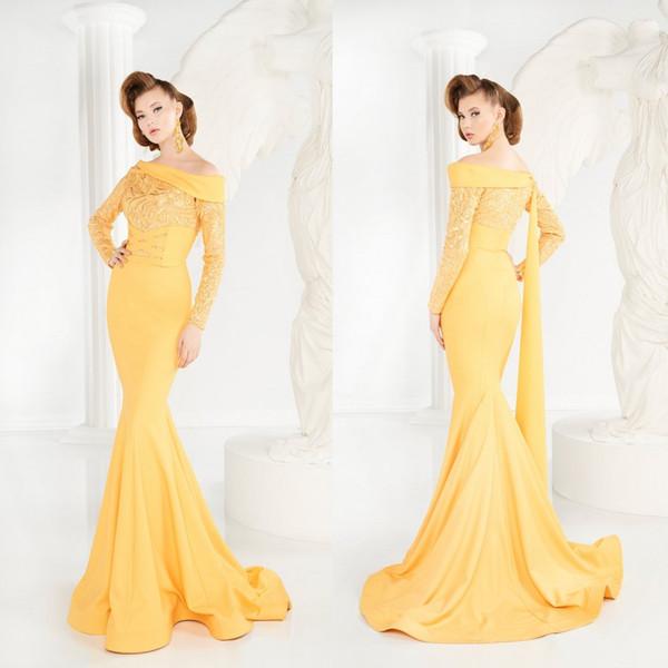 2020 robes de soirée jaunes de l'épaule manches longues balayage train sirène robe de bal en satin fait sur commande arabe formelle robes de soirée