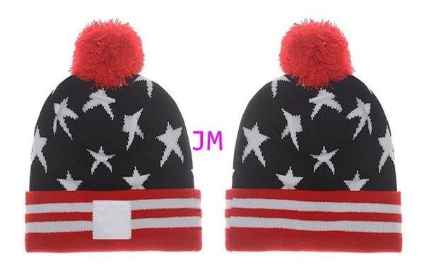 2019 hot sale luxury fashion knitting cotton hats hair ball stars camouflage high quality fashion cheap Beanie cap women's winter warm hats