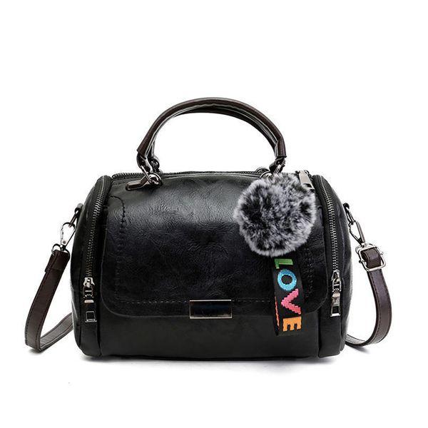 Bag Female New European And American Fashion Messenger Bag Hair Ball Ornament Wild Shoulder Bag Large Capacity Handbag