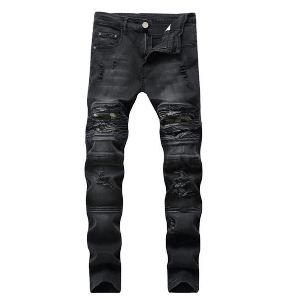 2019 New Fashion Jeans Hip Hop Mens Designer Clothes New Fashion Distressed Ripped Skinny Denim Biker Jeans Men Pants