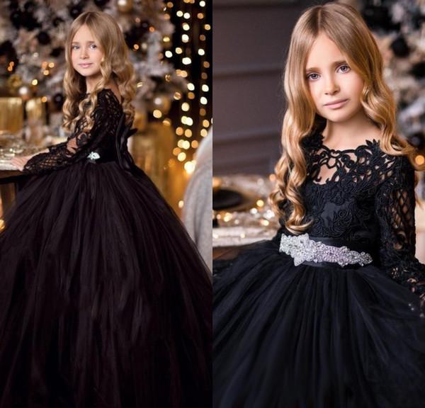 Compre Vestidos Negros Para Niñas De Flores Para La Boda De Encaje Manga Larga Cristales Chicas Concurso Niños Fiesta De Cumpleaños Vestido Formal