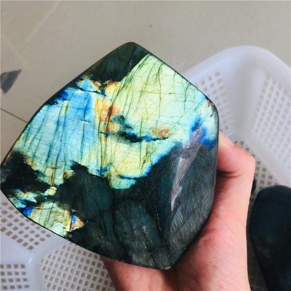 400g Cristal Natural Piedra de la Luna en Piedra Cruda Adorno Adornado Cuarzo Labradorita Artesanía Decoración de Piedra Curativa 1 unids