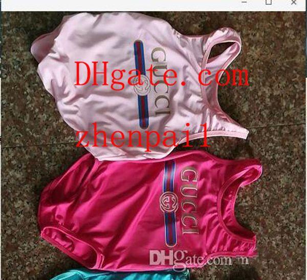 Ins best selling high end one-piece bebê meninas macacões swimwear letra impressão maiô crianças roupas de praia 2T-8T A-L1