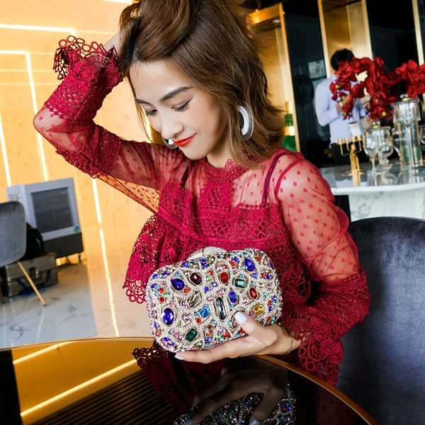 gold chains jewels, dinner sloping bags, women's flash drill, banquet bags, handbags clutch #227085