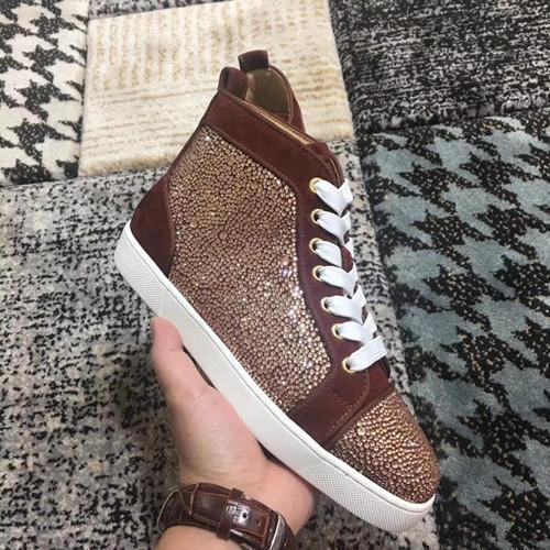 Moda Rhinestone Kahverengi Süet Sneakers Ayakkabı Ile Kadınlar Için, erkekler Rahat Kırmızı Alt Genç Lüks Tasarımcı Kırmızı Taban Kutusu Ile Yürüyüş