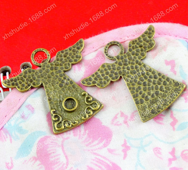 40pcs 35*36MM Antique bronze tibetan angel fairy ornament charms for bracelet vintage metal pendant for earring handmade DIY jewelry making