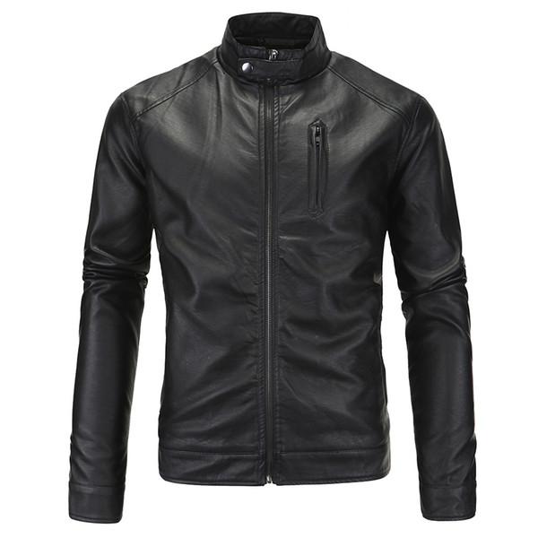 Erkekler Rahat Motosiklet Pilot PU Deri Ceketler moda üst Ceket Standı Yaka Faux Deri Ceket Dropshipping sıcak satış giysi