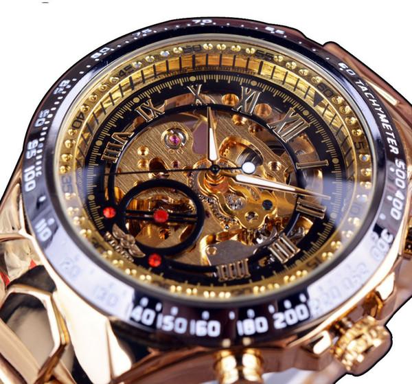 Ganador A Estrenar Moda Reloj de Oro Estilo de Acero Hombres Hombres Reloj Clásico Mecánico Auto viento Vestido de Pulsera Reloj Esqueleto Regalo Nueve nuevos optio