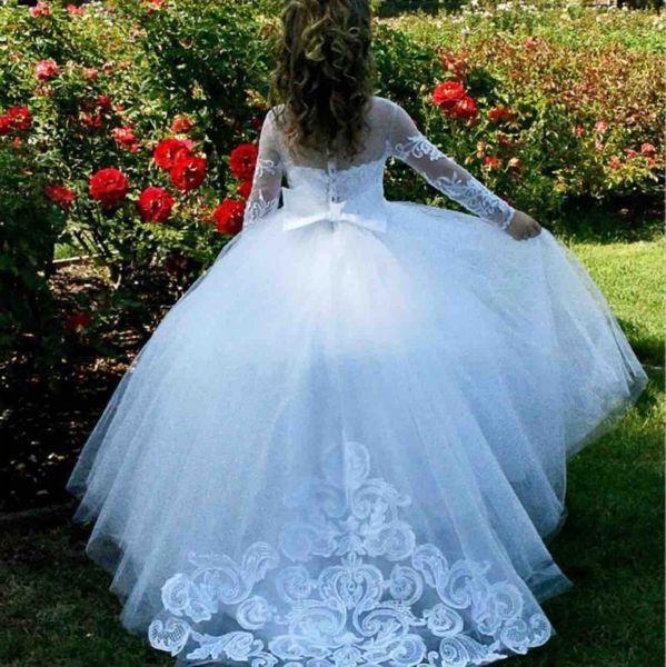 Marfim mangas compridas vestidos de meninas de flor para casamentos ilusão decote rendas apliques meninas pageant vestido coberto botões botões vestidos de comunhão