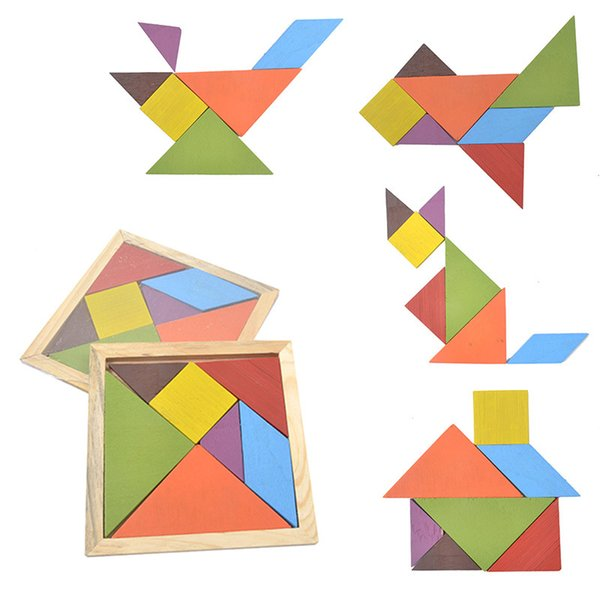 top popular Wooden Colorful Tangram intelligence Jigsaw Puzzle Game Alphabet Numbers Early Learning Educational Toys for Children Gifts 2019