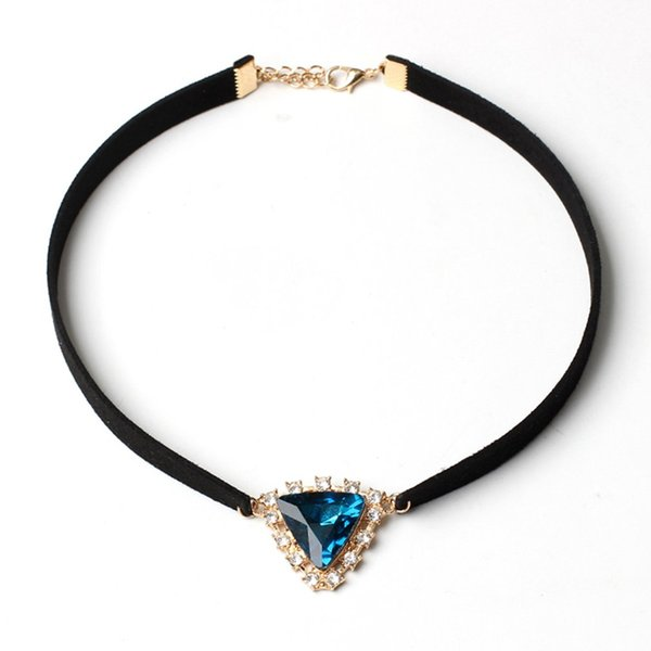 Yr201 Triangle Crystal Necklace Blue Decoration Women Gift Preresent