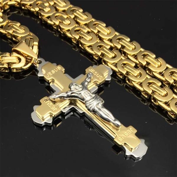 Pesado crucifijo de Jesús Cruz collar del acero inoxidable Cristos colgante de oro bizantino cadena de los hombres Collares regalos de la joyería 24