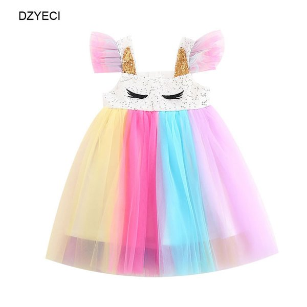 d375f6c0d1bcd 2019 Summer Unicorn Rainbow Dresses For Baby Girl TUTU Lace Costume Child  Prom Party Princess Frock Children Sequins Disguise Ceremony Dress From ...