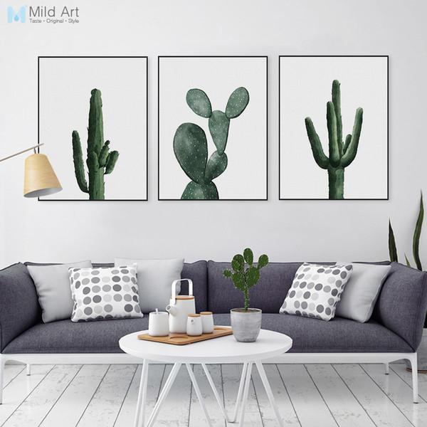 ome Decor Peinture Calligraphie Nordique Aquarelle Cactus Vert Affiche Plante Imprimer Hipster Floral Wall Art Image Moderne Déco De Toile ...