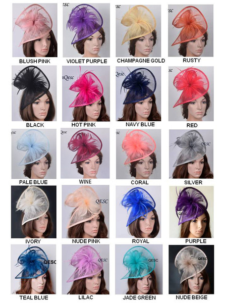 top popular NEW 20 colours. HOT sinamay fascinator Church hat fedora with feathers for kentucky derby,ascot races,melbourne cup 2019