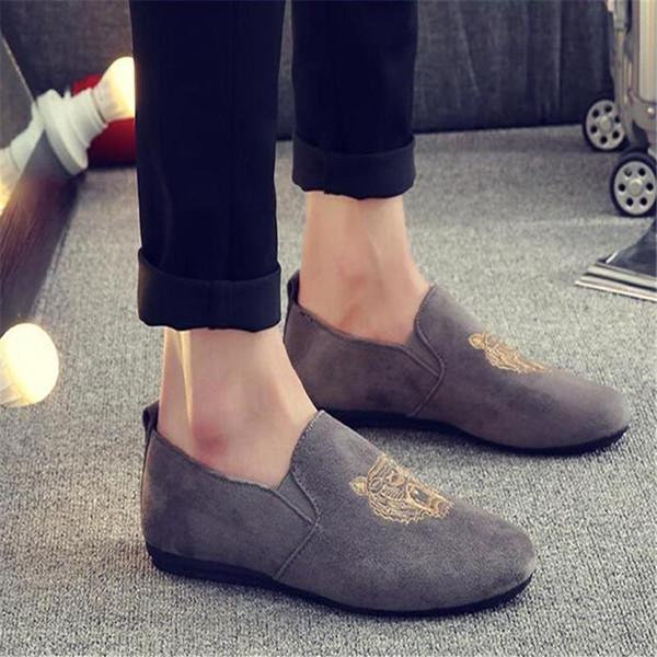 Hot Sale- Fashion Men Loafers Slip on Mens Velvet Shoes Casual Velvet Slippers British Dress Shoes Men's Flats Wedding & Party Shoes