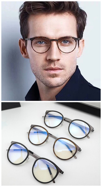New Retro-style unisex round eyewear frame ultra-light titanium-apron no-screw frame45-21-136for RX prescription glasses full-set case