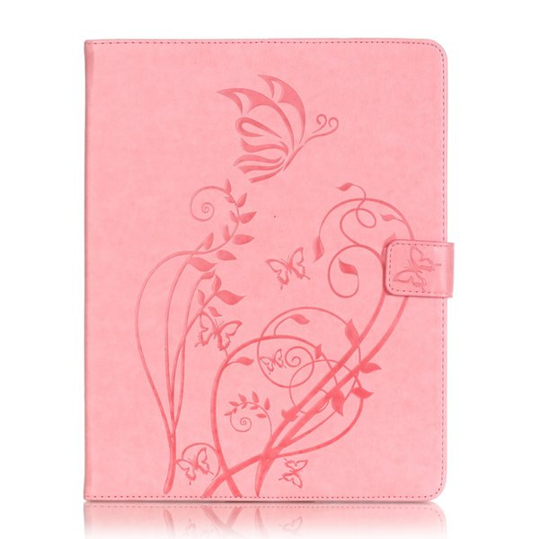 1 Pc/Lot For Apple iPad mini 4 butterfly embossed flat leather case For iPad mini 4 flip cover card holder + Pen