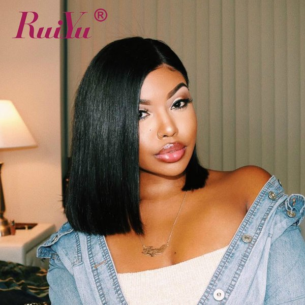 Lace Front Peruvian Hair Bob Wigs For Black Women Lace Front Human Hair Wig 180% Density Pre Plucked Remy Hair Short Wigs Ruiyu