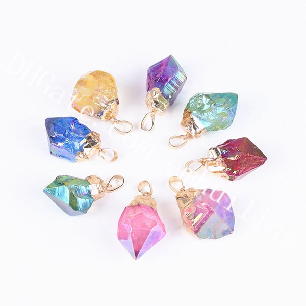 gold plated mixed random color stone