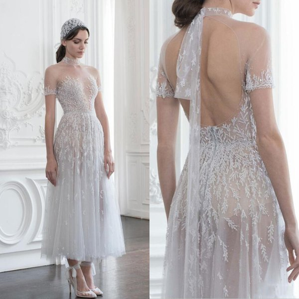 Designer Tea Length Appliques Wedding Dresses A Line 2019 Sexy High Neck Sheer Short Sleeve See Through Bride Dress Beach Boho Bridal Gowns