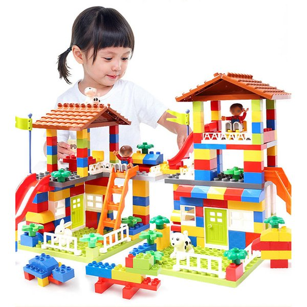89pcs Diy Colorful City House Roof Big Particle Building Blocks Castle Educational Toy For Children Compatible Slide GiftMX190820