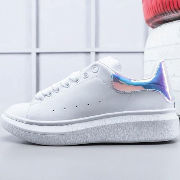 2019 White Shoes Desinger Womens Mens Sports Couple Casual Shoes For White Bottom Leather Increase Sneaker