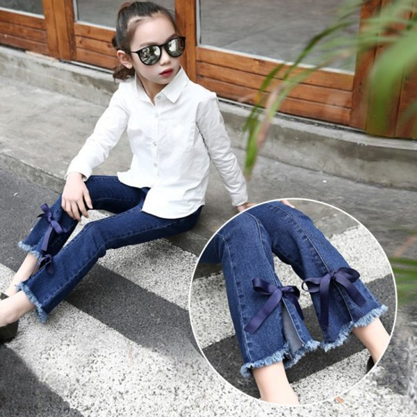 Baby Girls Soft Denim Bell Bottom Boot Cut Bow Tie Pants Jeans Hit Color Wide Leg Trousers 2018 New