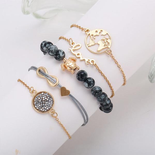 5 pieces/set Map Tortoise Love Heart Infinite Bracelet for Women Girls Bead Charm Bracelet Gold Color Crystal Link Bracelet Bangle Jewelry