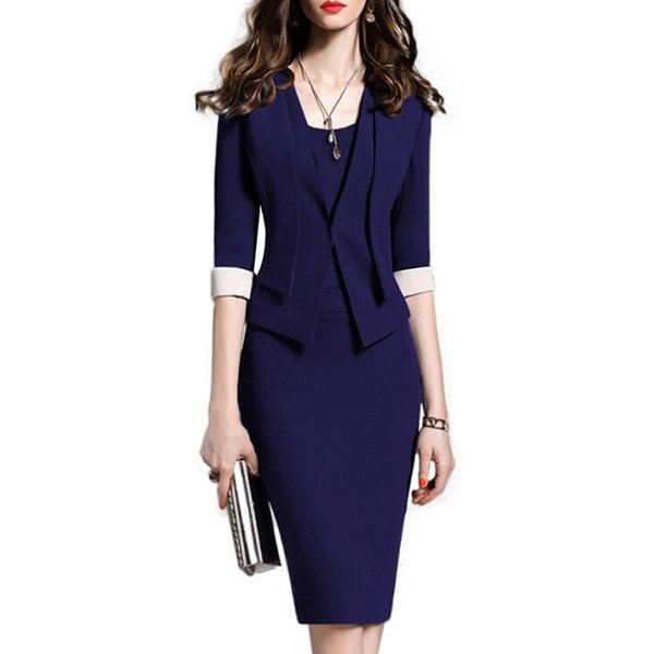 New Fashion Women Dress Set Formal Pencil Dress Suits Elegant Vintage Office Wear Work Clothes For Ladies Cotton Plus Size