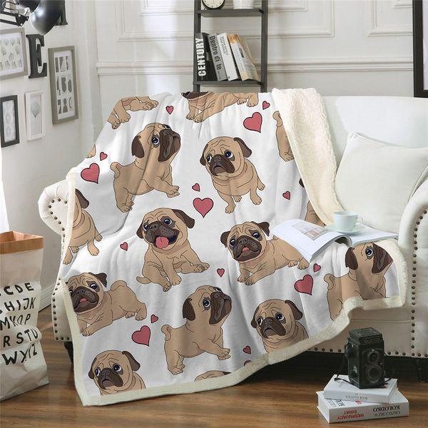 Hippie Pug Sherpa Cobertor Em Camas Animal Dos Desenhos Animados Lance Cobertor De Pelúcia Para Crianças Colcha Bulldog Tampa Do Sofá 1 pc