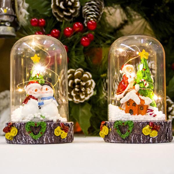 Christmas Dollhouse Decorations.Santa Snowman Glass Dollhouse With Night Light Ornaments For Christmas Party Decor Supplies Festival Craft Christmas Decorations Christmas Ornaments