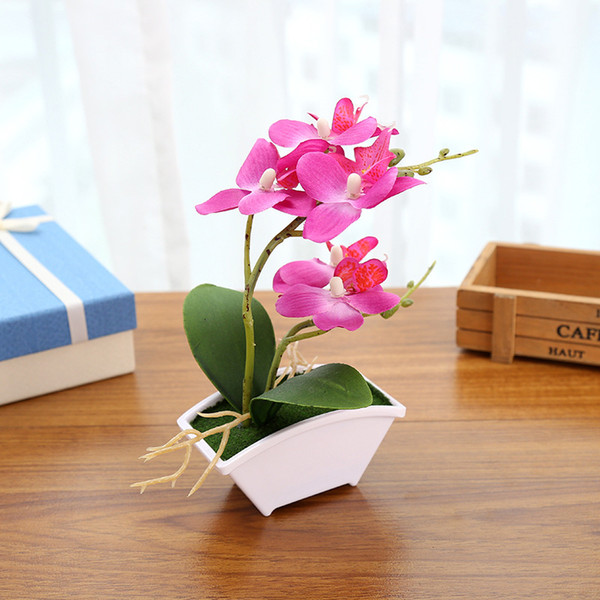 Hot Artificial Borboleta Flor da orquídea plantas em vaso Falso partido Home Ornament Decor