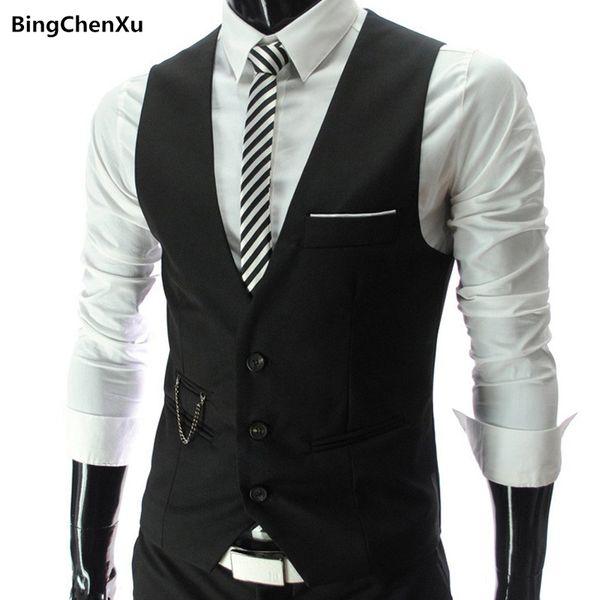 Dress Vests For Men Party Wedding Slim Fit Mens Suit Vest Male Waistcoat Sleeveless Formal Business Jacket Tie Suit Set 4961