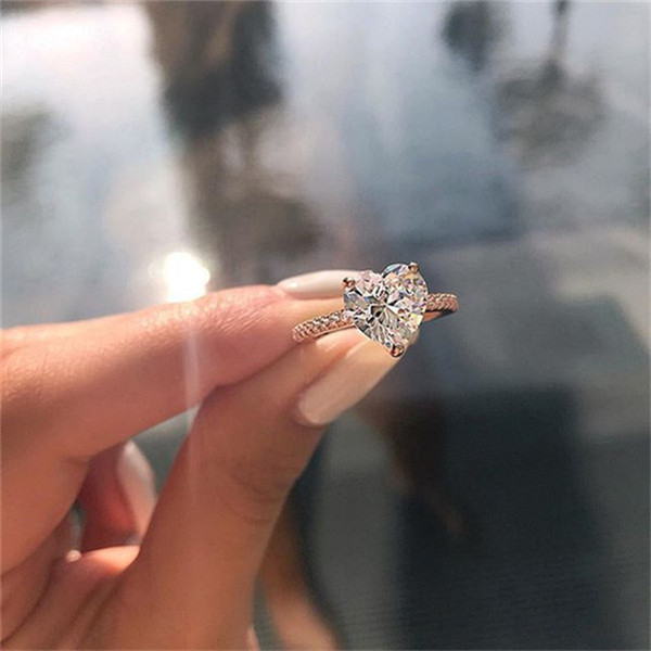 top popular Cubic Zircon Heart Ring Heart Diamond Rings Crystal Engagement Wedding Ring Women rings Fashion Jewelry will and sandy Gift 2020