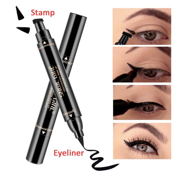 2018 Newly Double Ended Stamp Eyeliner Pen Waterproof Long Lasting Thin Liquid Eye Liner