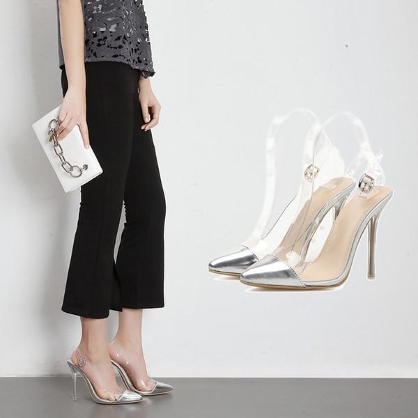 Fashion2019 Прозрачный Острый Обнаженный Цвет Кристалл Прекрасная Женщина Обуви Супер Высокий С Сексуальными Сандалиями