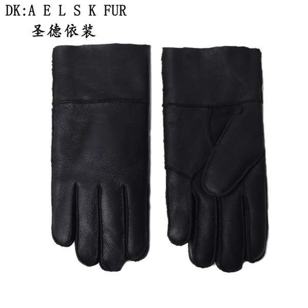 Men's warm gloves, black leather, good winter, sheep, shearing gloves, hand products, good products