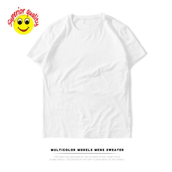 2cf1d57cf 2019 Hombres camiseta de manga corta de algodón hombres en blanco color  sólido modelos marea hombres
