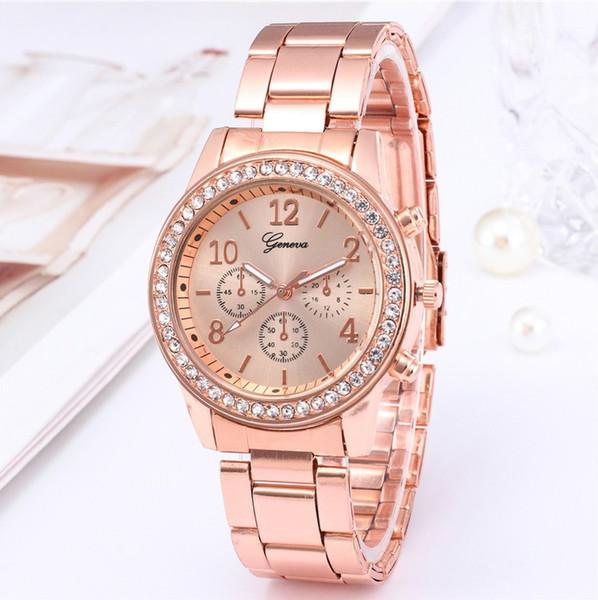 Men Geneva Watch Women Rhinestone Watches Casual Analog Quartz Clock Hours Ladies Dress Rose gold Wristwatches