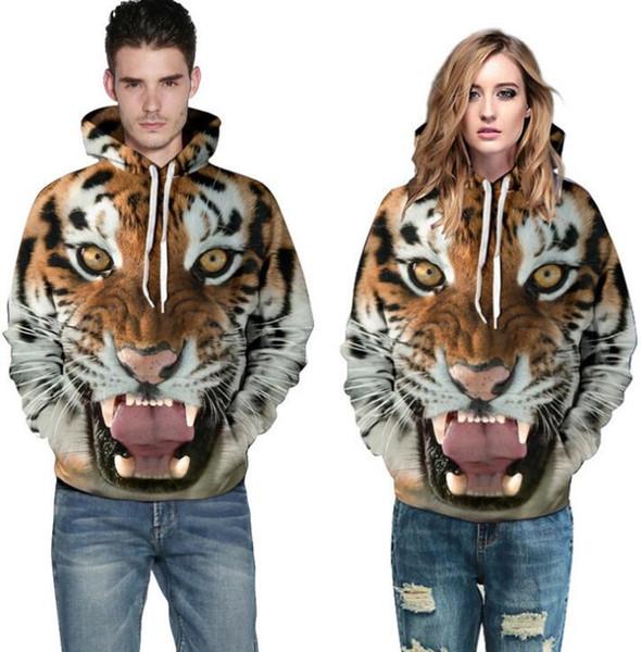Tiger 3D Impresión digital Sudaderas con capucha Sudaderas Sudaderas con capucha Lovers'Hoodies Sudaderas Ropa
