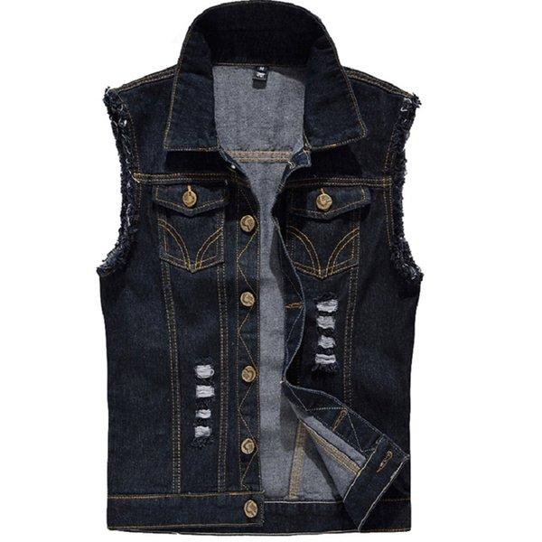 Fashion Washed Jeans Waistcoat for Mens Tank Top Cowboy Male Ripped Jacket Denim Vest Mens Sleeveless Jackets Plus Size 6XL