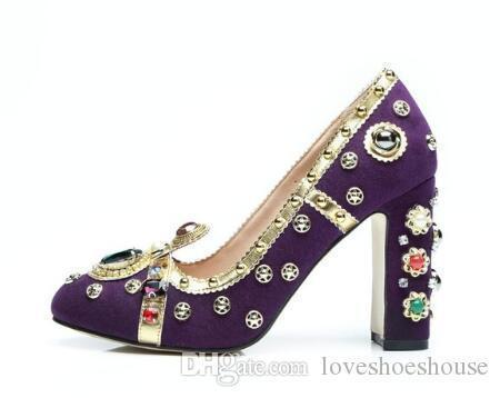 Charm2019 Gorgeous Studded Rhinestone High Heels Party Shoes Purple Suede Block Heels Women Shoes Round Toe Slip-on Women Pumps