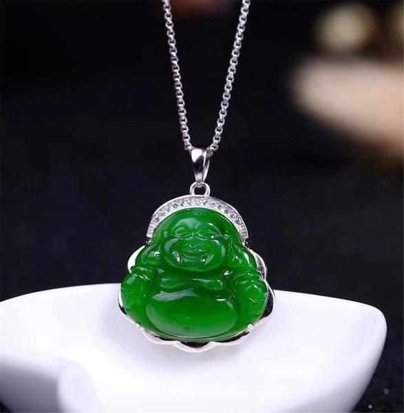 Klasik Yeni Belgesi ile S925 Gümüş Doğal Çin Hetian Yeşil Yeşim Kadın Jasper Kolye Buda kolye